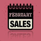 Etiqueta de calendario con las ventas de febrero palabras escritas dentro — Vector de stock