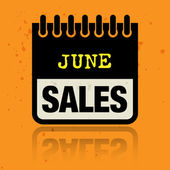 Calendar label with the words June Sales written inside — Stock Vector