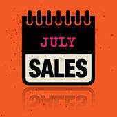 Etiqueta de calendario con las ventas de julio palabras escritas dentro — Vector de stock