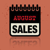Calendar label with the words August Sales written inside — Stock Vector