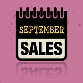Calendar label with the words September Sales written inside — Stock Vector