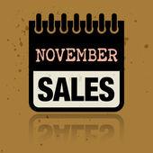 予定表のラベル内に書かれ単語 11 月売り上げ高 — ストックベクタ