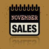Etiqueta de calendario con las ventas de noviembre palabras escritas dentro — Vector de stock