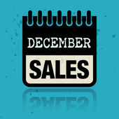 Etiqueta de calendario con las ventas de diciembre palabras escritas dentro — Vector de stock