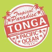Grunge lastik damgası veya etiket adı tonga — Stok Vektör