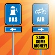 Road signs with bicycle, gas station symbol and text Gas and Air — Vector de stock