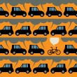 Poster with bicycle and traffic — Stock Vector