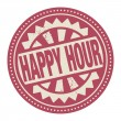 Stamp or label with the text Happy Hour — ストックベクタ