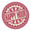 Stamp or label with the text Happy Hour — 图库矢量图片