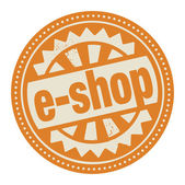 Stamp or label with the text E-shop — Stock Vector