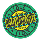 Stamp with text I Love Belo Horizonte, Brazil — Stock Vector