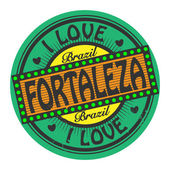 Stamp with text I Love Fortaleza, Brazil — Stock Vector