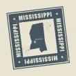 Grunge rubber stamp with name and map of Mississippi, USA — Stockvector