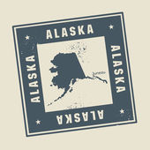 Grunge rubber stamp with name and map of Alaska, USA — Stock Vector