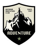 Mountain adventure label or sign — Stock Vector