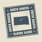 марка с именем и карта штата южная дакота — Cтоковый вектор