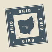 Stamp with name and map of Ohio — Stock Vector