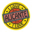 Grunge color stamp with text I Love Alicante inside — Stock Vector