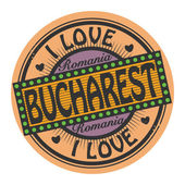Grunge color stamp with text I Love Bucharest inside — Vector de stock