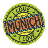 Grunge color stamp with text I Love Munich inside — Stock Vector