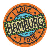 Grunge color stamp with text I Love Hamburg inside — Vector de stock