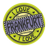 Grunge color stamp with text I Love Frankfurt inside — Stok Vektör