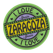 Grunge color stamp with text I Love Zaragoza inside — Stock Vector