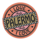 Grunge color stamp with text I Love Palermo inside — Vector de stock