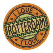 Grunge color stamp with text I Love Rotterdam inside — Vector de stock