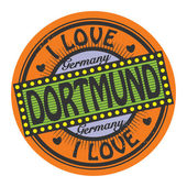 Grunge color stamp with text I Love Dortmund inside — Stock Vector