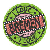 Grunge color stamp with text I Love Bremen inside — Vector de stock