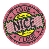 Grunge color stamp with text I Love Nice inside — Stock Vector