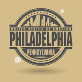 Stamp or label with text Philadelphia, Pennsylvania inside — Vector de stock
