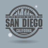 Stamp or label with text San Diego, California inside — Stock Vector