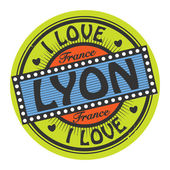 Grunge color stamp with text I Love Lyon inside — Stock Vector