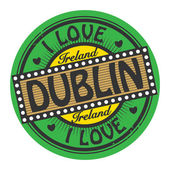 Grunge color stamp with text I Love Dublin inside — Stock Vector