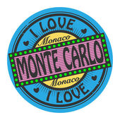 Grunge color stamp with text I Love Monte Carlo inside — Stock Vector