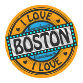 Grunge color stamp with text I Love Boston inside — Stock Vector
