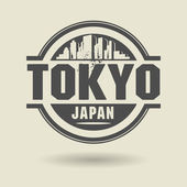 Stamp or label with text Tokyo, Japan inside — Stock Vector