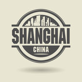 Stamp or label with text Shanghai, China inside — Stock Vector