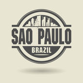 Stamp or label with text Sao Paulo, Brazil inside — Stock Vector