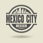 Stamp or label with text Mexico City, Mexico inside — Vector de stock