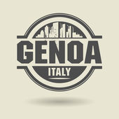 Stamp or label with text Genoa, Italy inside — Vettoriale Stock