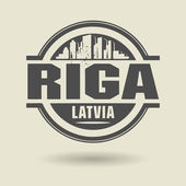 Stamp or label with text Riga, Latvia inside — Stock Vector