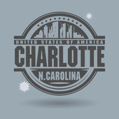 Stamp or label with text Charlotte, North Carolina inside — Stok Vektör