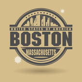 Stamp or label with text Boston, Massachusetts inside — Stock Vector