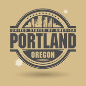 Stamp or label with text Portland, Oregon inside — Stock Vector