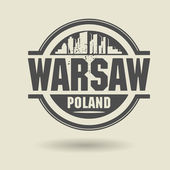 Stamp or label with text Warsaw, Poland inside — Stock Vector