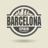 Stamp or label with text Barcelona, Spain inside — Stock Vector