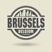 图章或标签与文本布鲁塞尔,比利时里面 — 图库矢量图片